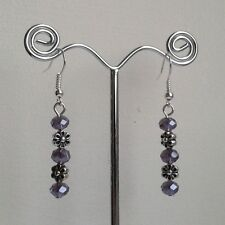 New Handmade Purple Faceted Glass & Silver Flower Bead Silver Plated Earrings