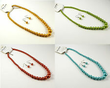GOLDEN ORANGE/YELLOW, TURQUOISE OR GREEN GRADUATED14mm GLASS PEARL NECKLACE SET