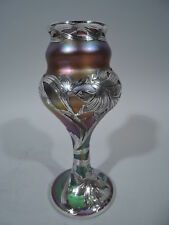 Quezal Vase - Antique Art Nouveau   American Art Glass & Silver Overlay