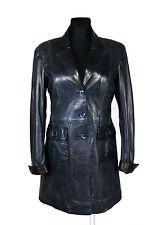 MILESTONE Woman Soft Lamb Leather Dark Blue Jacket/Coat SIZE EU 38, USA 10/UK 12