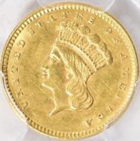 1856 Uncirculated Indian Princess Gold Dollar Slanted 5
