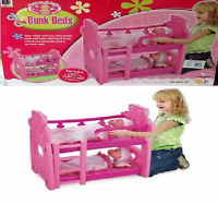 Pink Doll's Bunk Bed Toy with pillow, mattresses, blankets for young children