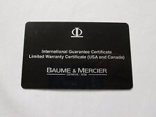 Baume & Mercier International Guarantee Ltd USA Canada Warranty Certificate Card