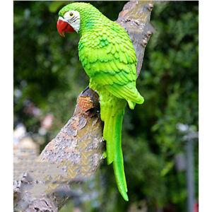 Resin Vivid Parrot Macaw Figurine Bird Statue Garden Sculpture Ornament