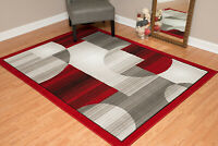 """5'3"""" x 7'2"""" Modern Area Rug Abstract Geometric Pattern Woven Olefin Red Brown"""