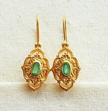 Masterly Handcrafted Emerald Vermeil 14k Gold Over Sterling Silver Earring