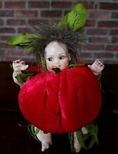 """VINTAGE TOMATO BABY PIN CUSHION PLASTIC OR COMPOSITE HAND PAINTED DOLL FUR 5""""X4"""""""