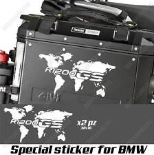 PAIR OF STICKERS WORLD MAP BMW R 1200 GS LC GLOBE FOR SIDE CASES WHITE