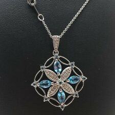 "Designer Blue Topaz Diamond Pendant Sterling Silver 925 Necklace 4g 18"" K1920"