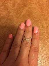 WIDE 14K ROSE GOLD PAVE DIAMOND BAND COCKTAIL RIGHT HAND X CROSSOVER RING