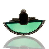 Fabelhafte Art déco Brosche aus Silber 925, grüner Achat, Onyx und Markasiten