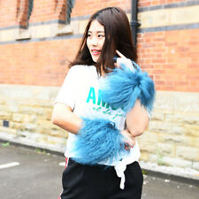 Mongolian Lamb Fur Slap On Cuff Bracelet In Baby Blue