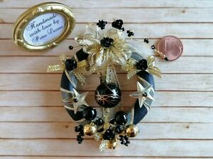 Puppenhaus 1:6 1:12 Miniatur Weihnachts TÜR KRANZ Advent SCHWARZ/GOLD Fee BARBIE