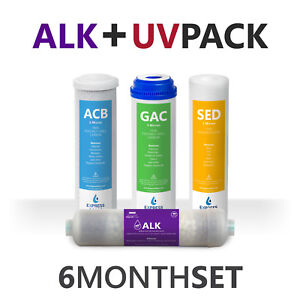 6 Month Alkaline Ultraviolet Reverse Osmosis Replacement Filter Set – 4 Filters