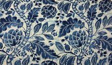 "P KAUFMANN JAVA TREE LAKELAND BLUE D4153 LARGE FLORL LINEN FABRIC BY YARD 54""W"