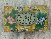 Antique Chinese Cloisonné Box with Carved Jade. Cloisonne inlay brass hinged lid
