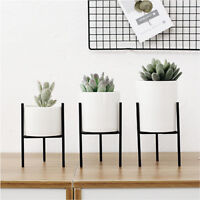 Ceramic Flower Pot + Metal Rack Plant Pot Display Holder Stand Home Garden Decor