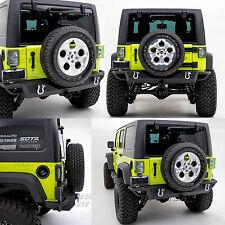 Heavy Duty 07-17 Jeep Wrangler JK Black Rock Crawler Rear Bumper+Hitch Receiver