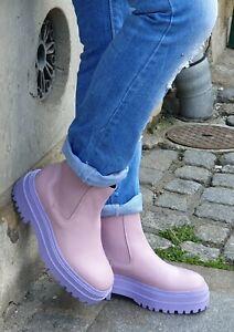 Phenumb Schuh cash lila Rosa limited Damen Leder Chelsea Boot Stiefelette