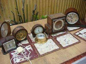 Vintage Old  Antique Mantle Clock  For  Restoration  Spare to  Repair See Video