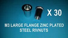 30 X STEEL ZINC PLATED RIVNUTS M3 NUTSERT RIVET NUT LARGE FLANGE NUTSERTS RIVNUT