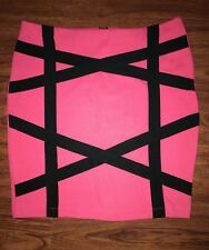 Charlotte Russe Women's Sexy Fitted Skirt Strip Design Pink & Black Size M