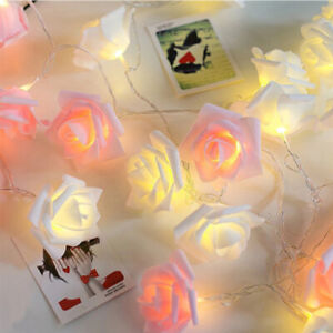 LED Rose Flower Battery Fairy Lights String Wedding Xmas Party Home Decor