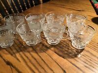 """Lot Of 8 Vtg Wexford Anchor Hocking Pressed Glass 3"""" Coffee/Tea Cups"""