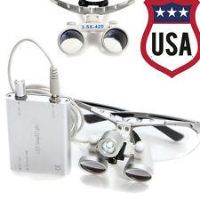 Dental LED light + 3.5x 420mm Surgical Medical Binocular Loupes silver FDA-USA