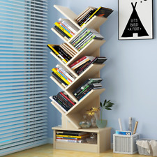 10-Tier Bookcase Shelf Stand Display Cases Bookshelf Shelving Wooden Tree Shape