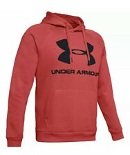 Under Armour Rival Fleece Logo Hoodie 1345628 Cotton Blend Red Men 5XL