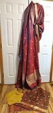 Vintage Ganeshi Lall Sari Saree 4-pc Outfit Scarf India 100% SILK Gold Red Green
