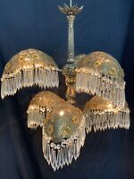 Antique Art Deco Nouveau Palm Frond Crystal Filigree Chandelier Waterfall