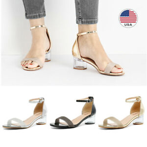 Womens Clear Low Block Chunky Heel Sandals Open Toe Ankle Strap Dress Shoes US