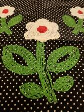 Vintage Fabric Square with 3 Needle Point Flowers.  Black fabric with Raised Whi