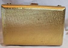 Vintage 1950s Volupte Gold Metal Purse with Snake Chain Rhinestone Buckle Clasp