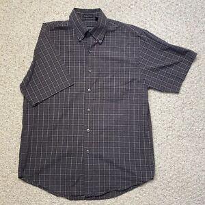 Van Heusen Mens Dress Shirt sz M Gray Plaid Short Sleeve Wrinkle Free Pocket