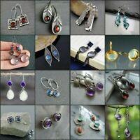Fashion 925 Silver Drop Earrings for Women Jewelry Moonstone Free Shipping