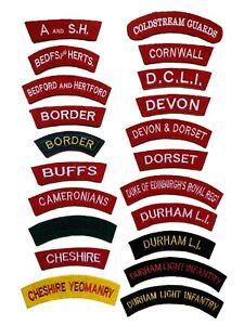 Reproduction World War Two Era British Cloth Shoulder Titles, Infantry Regiments