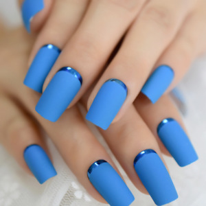 MATTE METALLIC *BLUE* Full Cover Press On 24 Nail Tips + Glue!