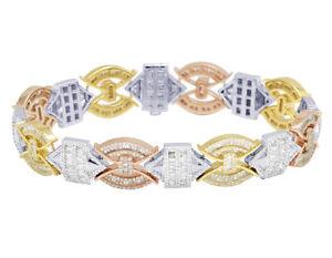 """3Tone Aztec Link Style Baguette Real Diamond Bracelet 13.7MM 8"""" (6.75Ct)"""