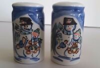 Vintage Christmas Collectible Salt & Pepper Shakers Hand Painted Snowman