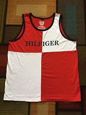 Retro Tommy Hilfiger Athletics Tank Top Shirt Mens XL Box Flag Logo Colorblock