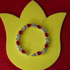 "Beautiful Red Ruby Garnet & 18K White Gold Gp  Bracelet 15 Gr. 7"" Inches Long"