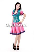 Fairytale Fantastic Ruffle Dress Maid Rubber Latex Dress Colorful Dress