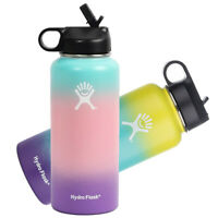 32oz Hydro Wide Mouth Stainless Steel Bottle Sport Flex Cap insulated Straw Lid