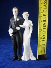 "Antique VTG 1930s? 6.5"" Bride & Groom Art Noveau Deco Bisque Wedding Cake Topper"