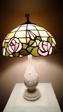 Vintage Roses Slag Stained Glass Shade on Ivory Roses Aladdin Alacite Table Lamp
