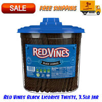 Red Vines Black Licorice Twists, 3.5lb Jar, Candy, Fat Free, Kosher, Low Calorie