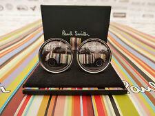 PAUL SMITH Cufflink Mens Sig Striped Vintage Split Mini Silver Cufflinks BNIB